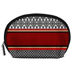 Background Damask Red Black Accessory Pouches (Large)  Front