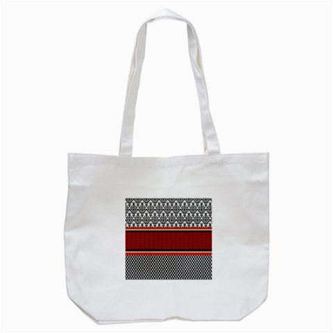 Background Damask Red Black Tote Bag (White)
