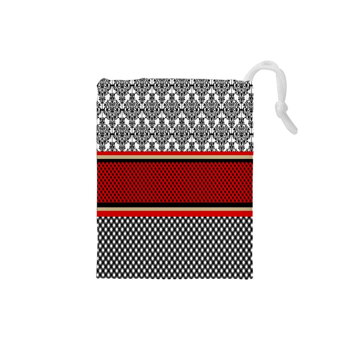 Background Damask Red Black Drawstring Pouches (Small)