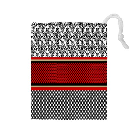 Background Damask Red Black Drawstring Pouches (Large)