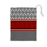 Background Damask Red Black Drawstring Pouches (Large)  Front