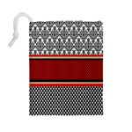 Background Damask Red Black Drawstring Pouches (Large)  Back