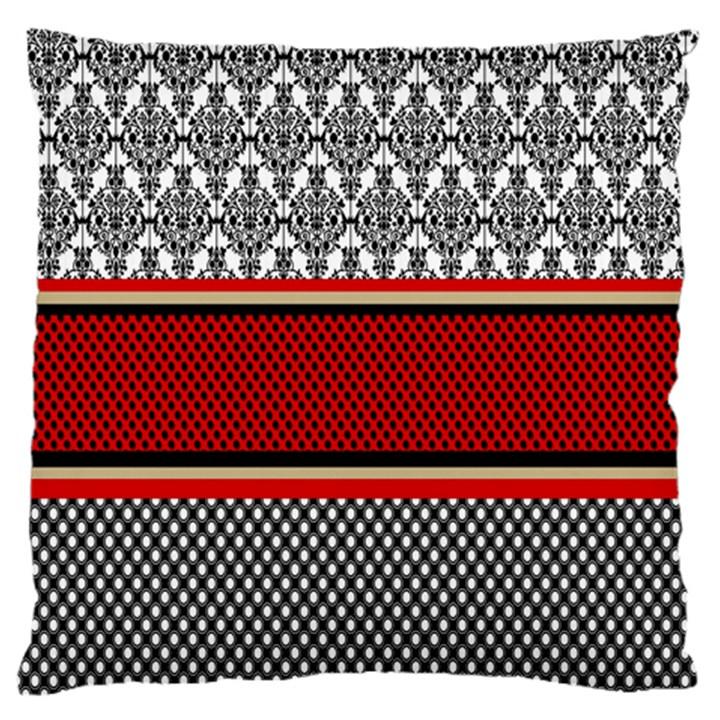 Background Damask Red Black Large Flano Cushion Case (One Side)