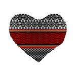Background Damask Red Black Standard 16  Premium Flano Heart Shape Cushions Front