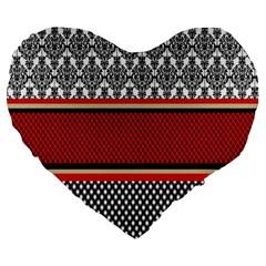 Background Damask Red Black Large 19  Premium Flano Heart Shape Cushions