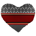 Background Damask Red Black Large 19  Premium Flano Heart Shape Cushions Front