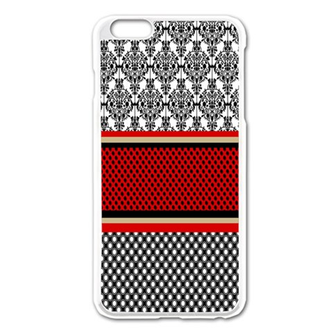 Background Damask Red Black Apple iPhone 6 Plus/6S Plus Enamel White Case