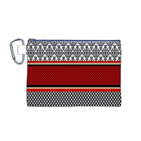 Background Damask Red Black Canvas Cosmetic Bag (M)