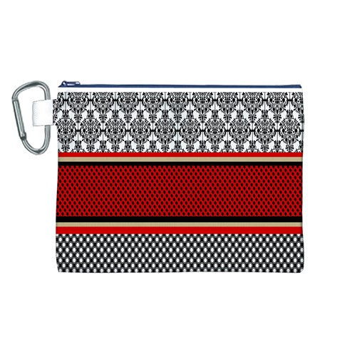 Background Damask Red Black Canvas Cosmetic Bag (L)