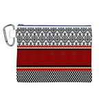Background Damask Red Black Canvas Cosmetic Bag (L) Front