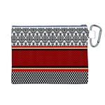 Background Damask Red Black Canvas Cosmetic Bag (L) Back