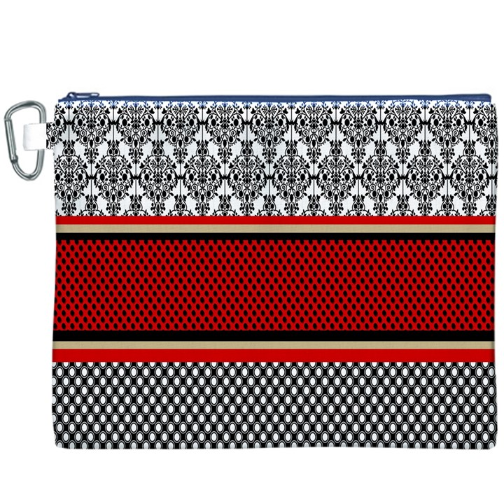 Background Damask Red Black Canvas Cosmetic Bag (XXXL)