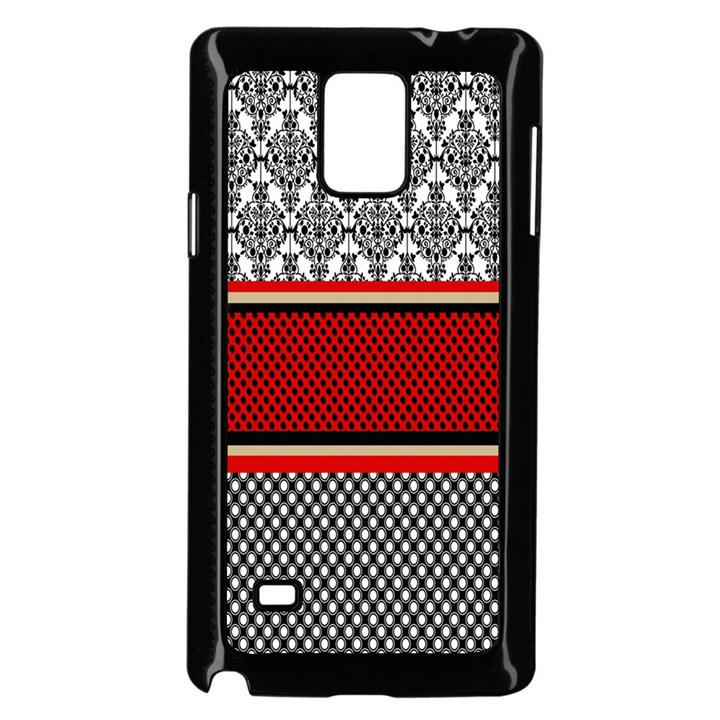 Background Damask Red Black Samsung Galaxy Note 4 Case (Black)