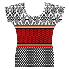 Background Damask Red Black Women s Cap Sleeve Top