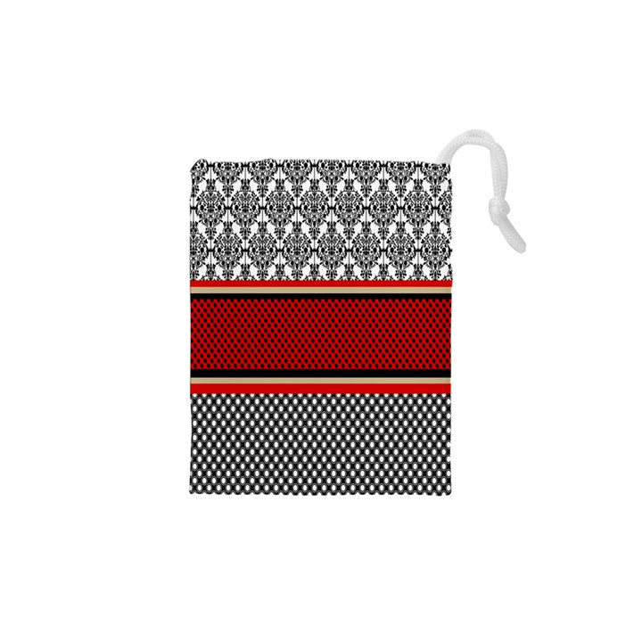 Background Damask Red Black Drawstring Pouches (XS)