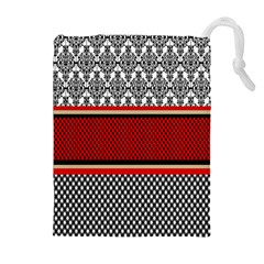 Background Damask Red Black Drawstring Pouches (Extra Large)