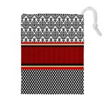 Background Damask Red Black Drawstring Pouches (Extra Large) Front