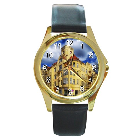 Berlin Friednau Germany Building Round Gold Metal Watch