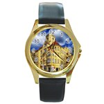 Berlin Friednau Germany Building Round Gold Metal Watch Front
