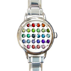 Button Icon About Colorful Shiny Round Italian Charm Watch