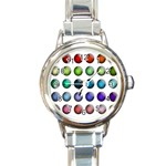 Button Icon About Colorful Shiny Round Italian Charm Watch Front