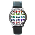 Button Icon About Colorful Shiny Round Metal Watch Front