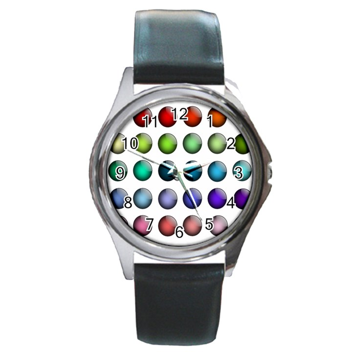 Button Icon About Colorful Shiny Round Metal Watch