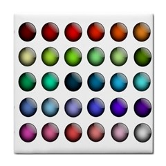 Button Icon About Colorful Shiny Tile Coasters