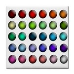 Button Icon About Colorful Shiny Tile Coasters Front