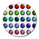 Button Icon About Colorful Shiny Round Mousepads Front