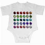 Button Icon About Colorful Shiny Infant Creepers Front
