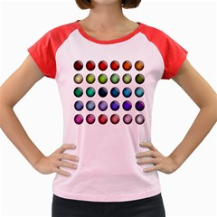 Button Icon About Colorful Shiny Women s Cap Sleeve T-Shirt