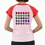 Button Icon About Colorful Shiny Women s Cap Sleeve T-Shirt Back