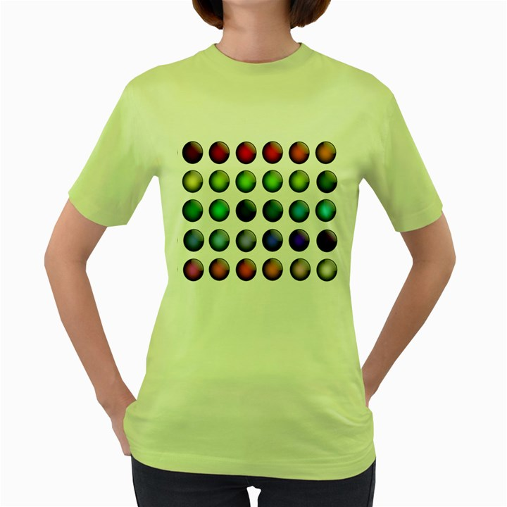 Button Icon About Colorful Shiny Women s Green T-Shirt