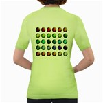 Button Icon About Colorful Shiny Women s Green T-Shirt Back