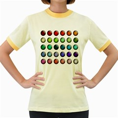 Button Icon About Colorful Shiny Women s Fitted Ringer T-Shirts