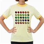 Button Icon About Colorful Shiny Women s Fitted Ringer T-Shirts Front