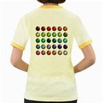 Button Icon About Colorful Shiny Women s Fitted Ringer T-Shirts Back