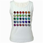 Button Icon About Colorful Shiny Women s White Tank Top Front