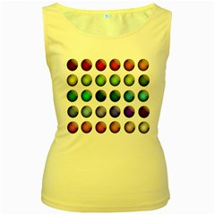 Button Icon About Colorful Shiny Women s Yellow Tank Top