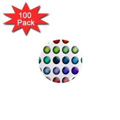 Button Icon About Colorful Shiny 1  Mini Magnets (100 pack)