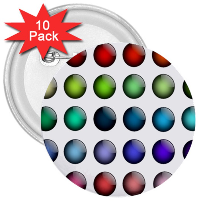 Button Icon About Colorful Shiny 3  Buttons (10 pack)