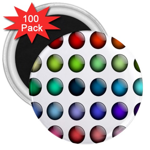 Button Icon About Colorful Shiny 3  Magnets (100 pack)