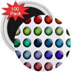 Button Icon About Colorful Shiny 3  Magnets (100 pack) Front