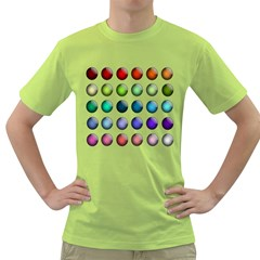 Button Icon About Colorful Shiny Green T-Shirt