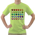 Button Icon About Colorful Shiny Green T-Shirt Front