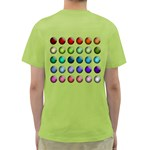 Button Icon About Colorful Shiny Green T-Shirt Back