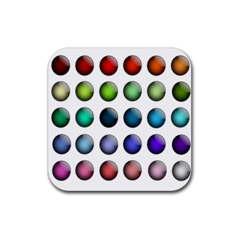 Button Icon About Colorful Shiny Rubber Coaster (Square)