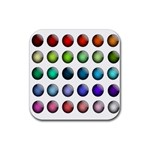 Button Icon About Colorful Shiny Rubber Square Coaster (4 pack)  Front