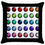 Button Icon About Colorful Shiny Throw Pillow Case (Black) Front
